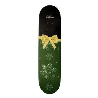 Custom name forest dark green glitter flowers bow skate board decks