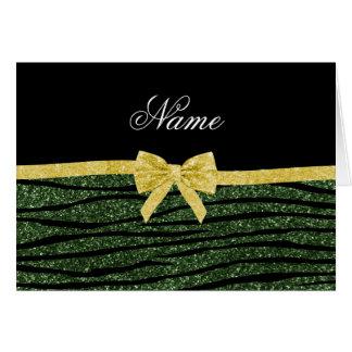Custom name forest green glitter zebra stripes bow card