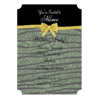 Custom name forest green glitter zebra stripes bow custom invitation