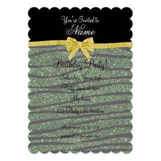 Custom name forest green glitter zebra stripes bow custom invitations