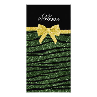 Custom name forest green glitter zebra stripes bow personalized photo card
