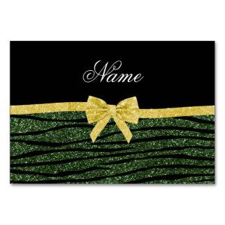 Custom name forest green glitter zebra stripes bow table card