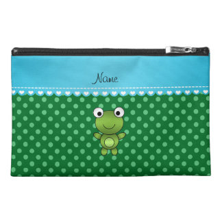 Custom name frog green polka dots travel accessories bag