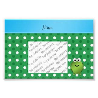 Custom name frog green white dots blue stripe photo art