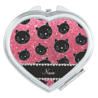 Custom name fuchsia pink glitter black cat faces mirrors for makeup