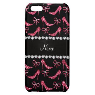 Custom name fuchsia pink glitter high heels bow iPhone 5C cases