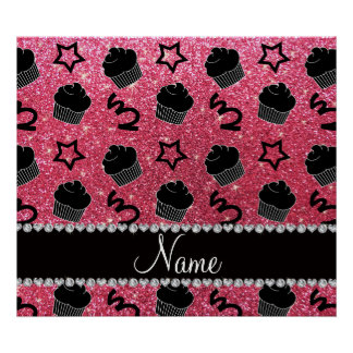 Custom name fuchsia pink glitter stars cupcakes posters