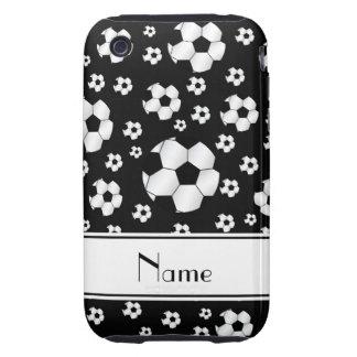Custom name fun black soccer balls white stripe iPhone 3 tough cover