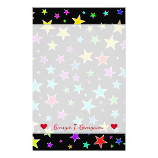 Custom Name + Fun, Colorful Stars Pattern Stationery