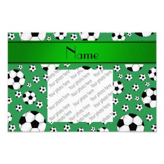 Custom name fun green soccer balls green stripe photo art
