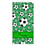 Custom name fun green soccer balls green stripe customised photo card