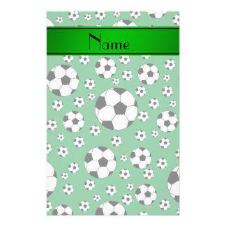 Custom name fun green soccer balls green stripe custom stationery