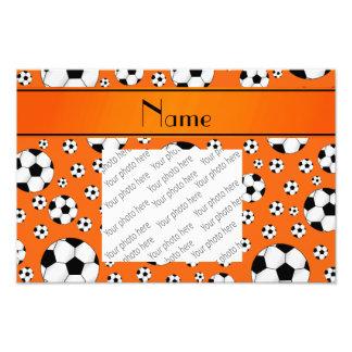 Custom name fun orange soccer balls orange stripe photographic print