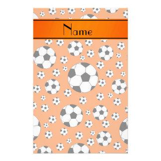 Custom name fun orange soccer balls orange stripe stationery paper