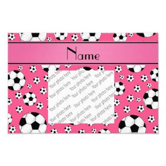 Custom name fun pink soccer balls pink stripe photo art