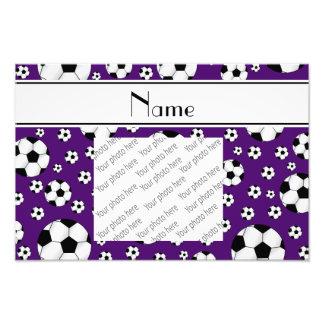 Custom name fun purple soccer balls white stripe photo print