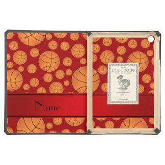 Custom name fun red basketballs red stripe iPad air covers