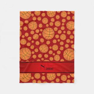 Custom name fun red basketballs red stripe fleece blanket
