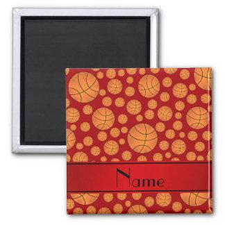 Custom name fun red basketballs red stripe magnet