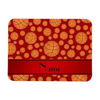 Custom name fun red basketballs red stripe rectangular magnets