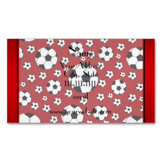 Custom name fun red soccer balls magnetic business cards