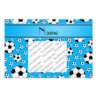 Custom name fun sky blue soccer balls blue stripe photographic print