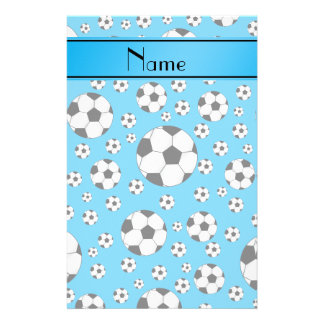 Custom name fun sky blue soccer balls blue stripe stationery design