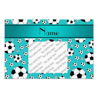 Custom name fun turquoise soccer balls and stripe photo art
