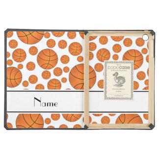 Custom name fun white basketballs white stripe iPad air cases