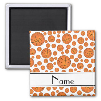 Custom name fun white basketballs white stripe magnet