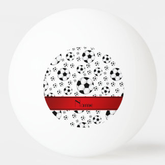 Custom name fun white soccer balls red stripe