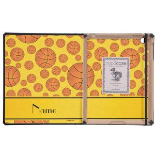 Custom name fun yellow basketballs yellow stripe iPad cases