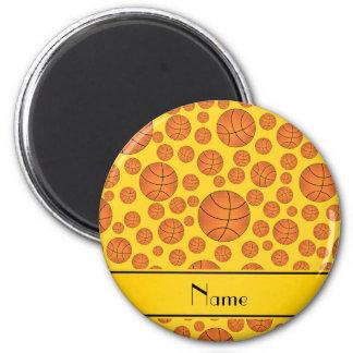 Custom name fun yellow basketballs yellow stripe magnet