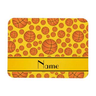 Custom name fun yellow basketballs yellow stripe rectangular magnet
