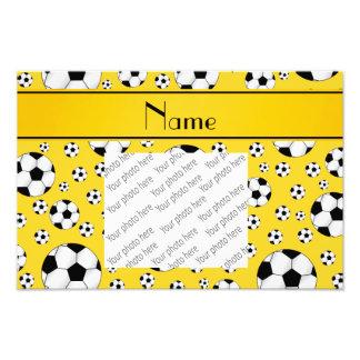 Custom name fun yellow soccer balls yellow stripe photograph