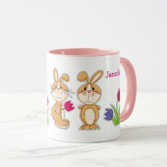 Custom Name Funny Easter Bunny Gift Mugs