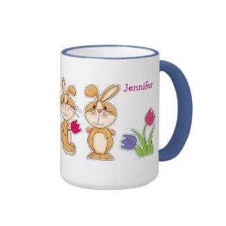 Custom Name Funny Easter Bunny Gift Mugs