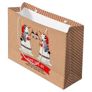 Custom Name Funny Snowmen Christmas Gift Bags