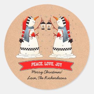 Custom Name Funny Snowmen Christmas Gift Stickers