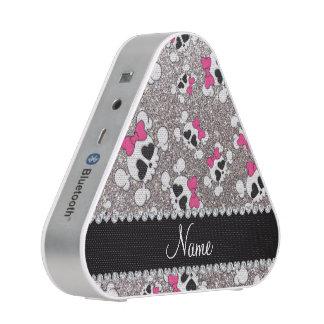 Custom name glitter silver skulls pink bows bluetooth speaker