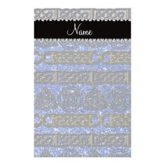 Custom name gold celtic blue glitter stationery design