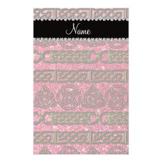 Custom name gold celtic fuchsia pink glitter custom stationery
