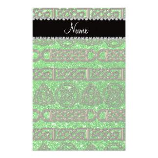 Custom name gold celtic lime green glitter stationery paper