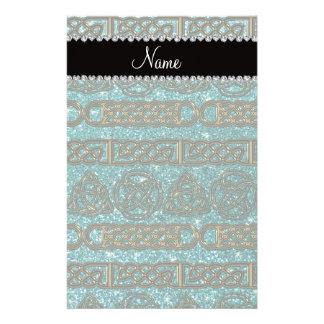 Custom name gold celtic turquoise glitter stationery