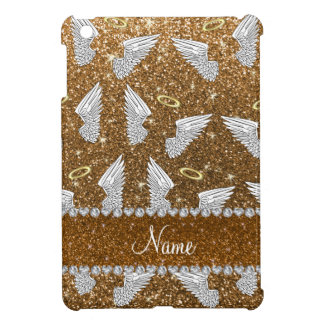 Custom name gold glitter angel wings case for the iPad mini
