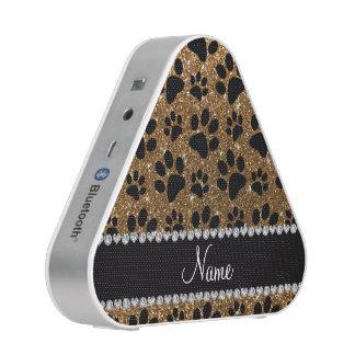 Custom name gold glitter black dog paws speaker