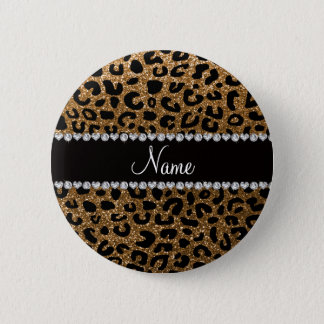 Custom name gold glitter cheetah print 6 cm round badge