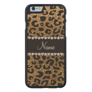 Custom name gold glitter cheetah print carved maple iPhone 6 case