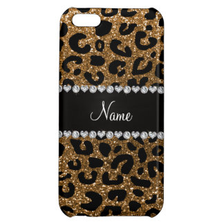 Custom name gold glitter cheetah print case for iPhone 5C