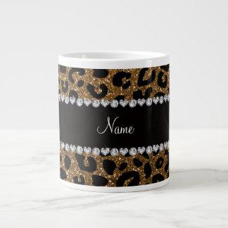 Custom name gold glitter cheetah print large coffee mug